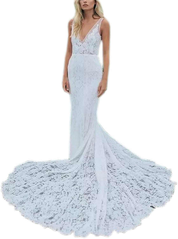 Datangep Women's V Neck Backless Straps Lace Mermaid Boho Beach Wedding Dress