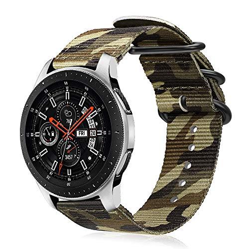 Fintie Armband kompatibel mit Galaxy Watch 46mm / Gear S3 Classic/Gear S3 Frontier/Huawei Watch GT/GT 2- Nylon Uhrenarmband verstellbares Ersatzband mit Edelstahlschnallen, Tarnen Grün