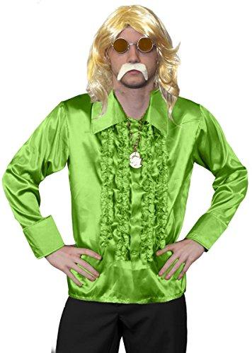 Disfraz para hombre de los años 70 de Disco, vestido largo rubio, camisa verde de los años 70, medallón dorado, cristales de naranja y bigote rubio, disfraz de fantasía funky - camisa verde (claro)