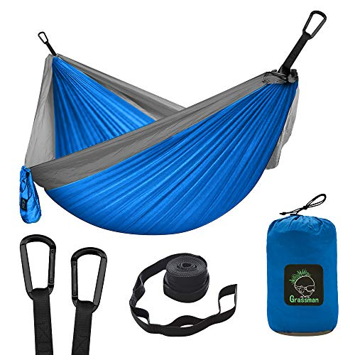 Camping Hammock Double & Single Portable Hammock with Tree Straps, Lightweight Nylon Parachute Hammocks Camping Accessories Equipment for Indoor Outdoor Backpacking, Travel, Hiking, Beach