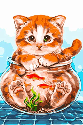 Newsight Paint by Numbers for Adults & Kids & Beginners DIY Acrylic Painting Gift Kits Drawing Paintwork with Paintbrushes 1620inch Cat and Fish