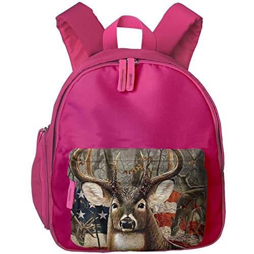 XCNGG Kids Backpack 3D Vintage American Flag Deer Kindergarten Preschool Pocket Bags Rucksack Casual Daypack for Children Toddler Girls Boys Pink