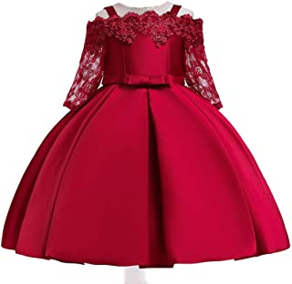 Best Gift Flower Kids Clothing Satin Elegant Lace cutout half sleeve Girls Dresses for Children Princess Party Costumes 3-10 Years