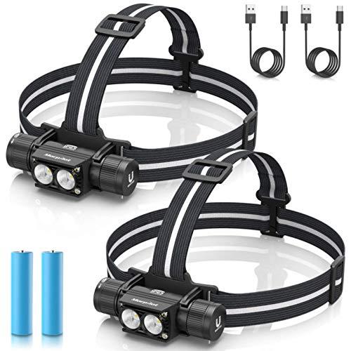 morpilot Linterna Frontal 2PCS Linterna Cabeza USB Recargable 1200 Lumens, 5 Modos, Alta Potencia, Ajustable de 180 Camping, Pesca, Ciclismo, Carrera, Caza, Escalada
