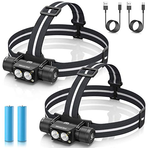 morpilot Headlamp, 1200 Lumens USB Rechargeable Head Lamps, IPX 65 Waterproof/Shock Proof Headlight with Adjustable Headband, 5 Modes Led Headlamp Flashlight for Outdoor Camping, Running, Set of 2