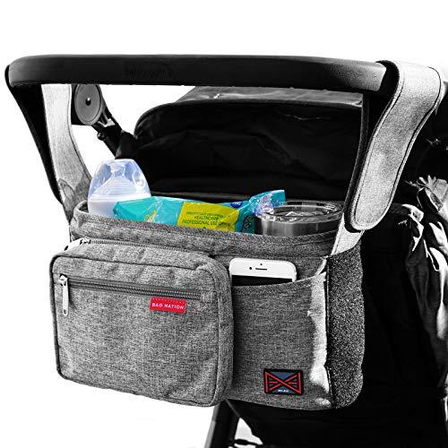 Bag Nation Universal-Kinderwagen-Organizer mit Getränkehaltern, großem Hauptfach, kompatibel mit Uppababy, Baby Jogger, Britax, Bugaboo, BOB, Regenschirm und Haustier-Kinderwagen, Grau