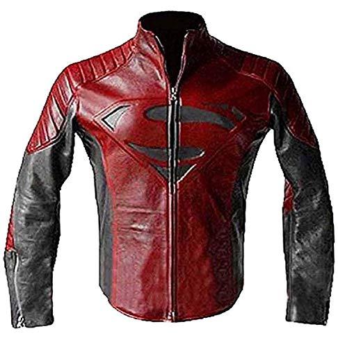 Icon Pro Superman Smallville Man of Steel Motorcycle Red and Black Leather Biker Jacket | Superman Jacket | All Sizea (XXXL)