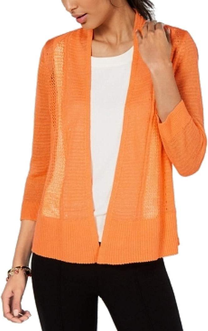 Alfani Womens Orange Sheer 3/4 Sleeve Open Cardigan Top Size M