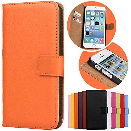 Roar Handy Hülle für Sony Xperia Z3 Compact, Handyhülle Orange, Tasche Handytasche Schutzhülle, Kartenfach & Magnet-Verschluss