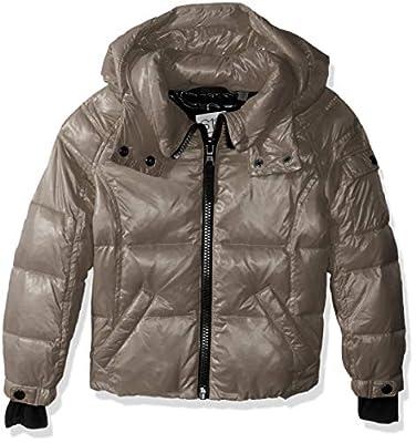 S13 Girls' Little Mogul Gloss Down Puffer with Detachable Hood, Platinum, 4