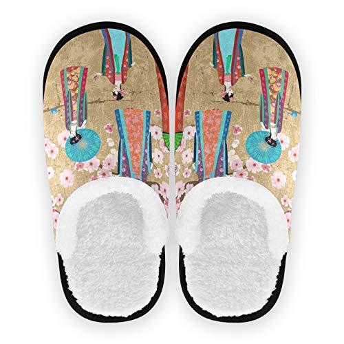 Mnsruu Zapatillas orientales de algodón antideslizante para el hogar, hotel, spa, dormitorio, viajes, L, para hombres y mujeres