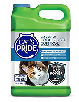 Cat's Pride Total Odor Control Premium Clumping Fragrance Free Scoopable Cat Litter Jug, 15-Pound, Grey (47215) by OilDri