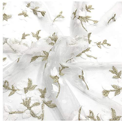 PHBSF Stickerei Spitze Kleid Stoff Kleine Pflaume Blumennetz Dekorative Stoff Kleid Material Mesh Kleid Stickerei Stoff (130cm Breite)(Size:3yard)