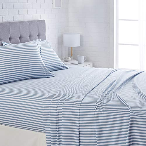 AmazonBasics Lightweight Super Soft Easy Care Microfiber Bed Sheet Set with 16' Deep Pockets - Queen, Dusty Blue Pinstripe