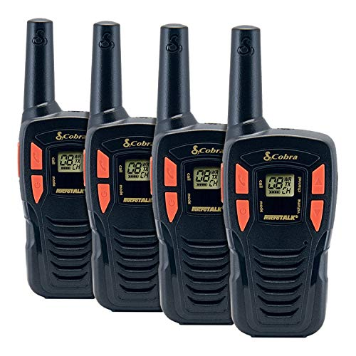COBRA CX190-4 4 Pack Walkie Talkies - Rechargeable, Long Range 16-Mile Two Way Radio Set with 22 Channels (7 GMRS/FRS, 7 FRS, and 8 GMRS) (4 Pack)