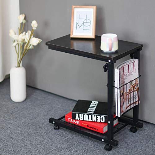 GSX Beistelltisch Beistelltisch Verstellbarer Knietisch Mit Rollen Laptop Tisch Schreibtisch Wagen Tablett Sofa Krankenhaus Krankenpflege Lesetisch(Color:Schwarze Weide)