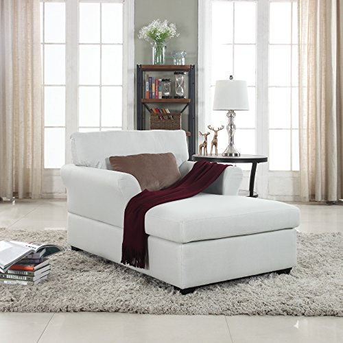 Divano Roma Furniture Large Classic Linen Fabric Living Room Chaise Lounge (Beige)