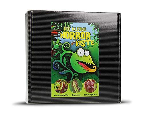 Monsterzeug Horrorpflanzen Geschenkset, Venusfliegenfalle zum Selberzüchten, Fleischfressende Pflanzen, Kleine Horrorkiste, exotische Geschenkbox zum Halloween, Anzuchtset 3-teilig, Schwarz