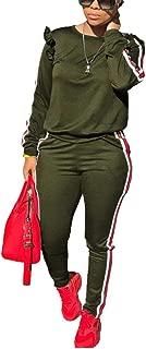 Women's 2 Piece Outfits Ruffle Sleeve Sweatshirt and Pants Sweatsuits Set Tracksuits