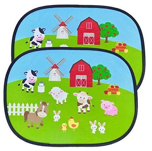 HECKBO® Parasol Autoadhesivo para Coche - protección Solar para niños (2 Piezas) | Granja con animales | 44x36cm | protección solar para ventanillas de coche | con Bolsa Incl