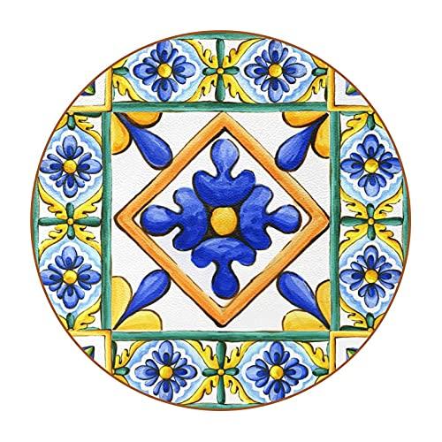 Ornamenti sulle piastrelle acquerello Spagna Italia, decorazione floreale in maiolica, super fibra di pelle, sottobicchiere durevole set di 6 sottobicchieri rotondi per soggiorno, cucina, bar