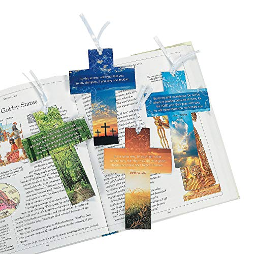 Fun Express - Religious Cross Bkmrk W/Live Photography - Stationery - Bookmarks - Bookmarks - 24 Pieces