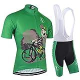 BXIO - Pantalón corto de ciclismo para hombre con 3 bolsillos traseros elásticos, cremallera completa, almohadilla de gel y tira antideslizante para ciclista (verde (020, set corto), S)
