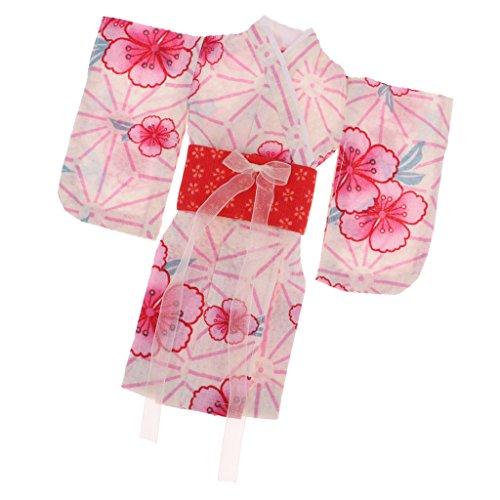 non-brand 1 Pieza Kimono Impreso Flores con Cintorón para 1/6 Bjd Muñeca...