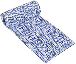 Yuvancrafts Indian Vintage Blue Indigo Print Kantha Quilt t Bedspreads Throw Blanket Boho Quilt