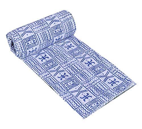 Yuvancrafts Colcha india vintage azul con estampado de índigo, colcha de Kantha