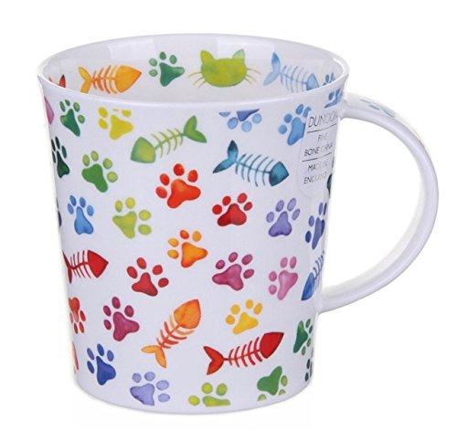 Dunoon Bone China Lomond Mug - Pawprints Range - Colourful Cat Paws