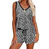 INSTO Pijamas para Mujer 2 Piezas Set Joer Loungewear Ropa de Dormir Starchtweart Hogewear,Gris,S