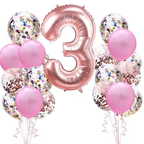 Geburtstagsdeko Rose Gold für 3.Mädchen Set: Riesen Roségold Helium Folienballons Zahl 3 (Zahlen 100cm)& Rosa Ballon & Konfetti Luftballons für 3 Jahre Kinder Junge Tochter Geburtstag Party Dekoration
