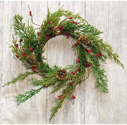 Loving Memories Christmas Candle Ring or Mini Wreath Accent for Statues, Lanterns, Nativity, Candle Holders, Doors, W...