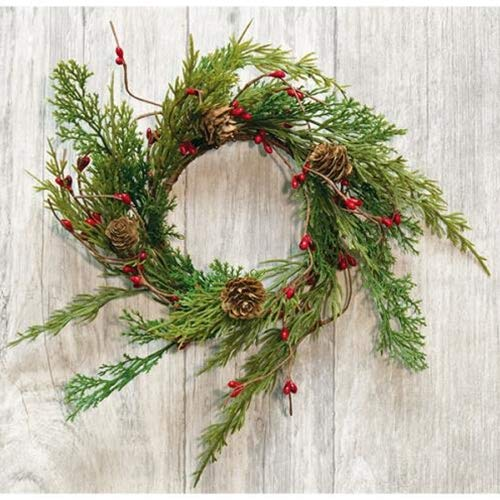 Loving Memories Christmas Candle Ring or Mini Wreath Accent for Statues, Lanterns, Nativity, Candle Holders, Doors, Windows, Centerpieces, Tree Decorations