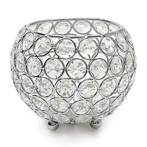 Zidao Kerzenhalter Schüssel Kristall Kerzenständer Silber Für Wohnzimmer Dekoration Couchtisch Dekor Tabelle Kernstück,Durchmesser 10Cm,Silber