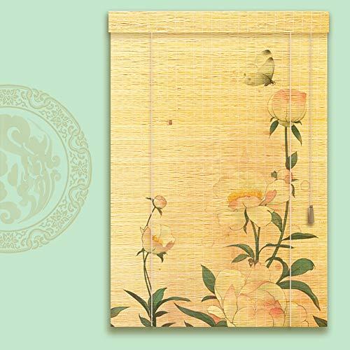 CHAXIA Bamboe Rolgordijn, bamboe rolgordijn, scheidingswand, print, gordijn, ophangen, plafond licht tegen de zon, 2 soorten, meerdere maten
