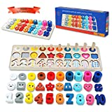 QZM Wooden Montessori Toys for Kids, Toddler Number Puzzles Sorter Counting Shape Stacker Stacking Game Preschool Toys for Boy Girl Learning Education Math Blocks Chunky Puzzles Gift for Toddlers