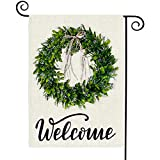 TGOOD Happy Spring Summer Welcome Garden Flag 12'x 18' Double Sided,Buffalo Check Plaid Polyester Seasonal Farmhouse Yard Flag Banners for Patio Lawn Outdoor Home Decor