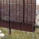Persiana Enrollable Persianas Enrollables de Bambú del Mirador de la Pérgola, Persianas de Privacidad de Estilo Japonés con Oscurecimiento del 50% en el Exterior con Gancho y Accesorio de Instalación