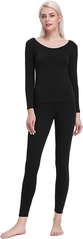 Liang Rou Crewneck Long Johns Modal & Cotton Thermal Underwear Top & Bottom Set for Women