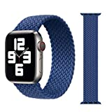 ZHONGGOZZ Braided Solo Loop Strap for Apple Watch Band 44mm 40mm 38mm 42mm Nylon Elastic Belt Bracelet for iWatch Series 6 SE 5 4 3 (Color : Atlantic Blue, Size : L(38mm-40mm))