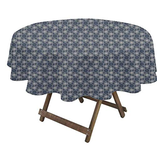 Japanese Dining Table Cover Hexagons Triangles with Spring Flowers Geometric Tile Washable Dining Decorative Charcoal Grey Dark Blue White | 54' Round