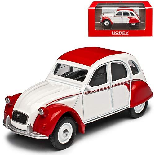 Citroen 2cv Dolly Rot Weiss Ente 1949-1990 1/64 Norev Modell Auto