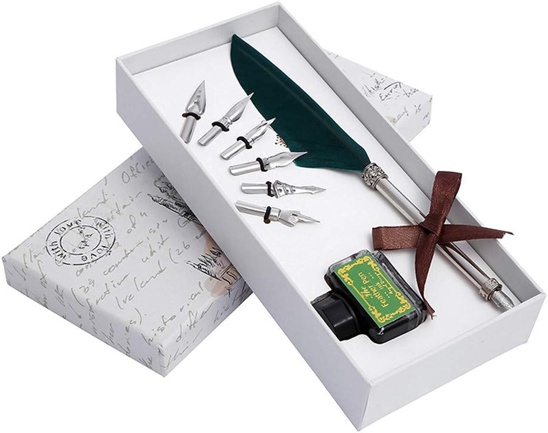 MIAOMIAOWANG Feder-Federn-Stift mit Tintenfeder Ersatz Antik Antik Antik Kalligraphie schreiben Dip Pen Kit Geburtstag Freunde (Farbe   Grün) B07L4PLLX5   Sale Outlet  582cd7