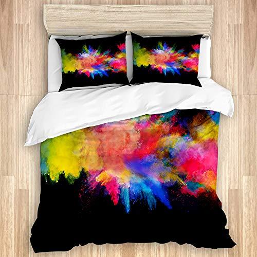 SUGARHE Bettwäsche Set,Blaue Farbexplosion des farbigen Pulvers auf gelbem Spritzen,1 Bettbezug 200x200cm+2 Kopfkissenbezug 50x80cm