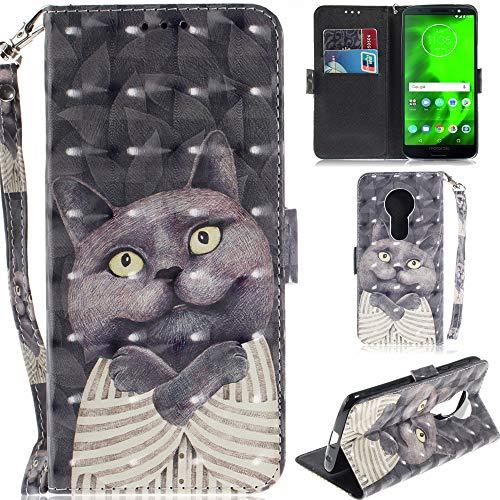 Ooboom Motorola Moto E5/G6 Play Hülle 3D Magnetische Flip PU Leder Schutzhülle Handy Tasche Hülle Cover Ständer mit Kartenfächer Trageschlaufe für Motorola Moto E5/G6 Play - Grau Katze