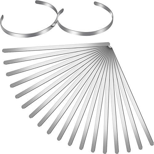 18 Pieces Bracelet Blanks Adjustable Cuff Bangle Bracelet Stainless Steel Blank Bracelet Bangle for DIY Jewelry Bangle Making, 1/5 x 6 Inch