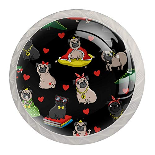 Perillas de gabinete de cocina Perillas decorativas redondas Armario Cajones Tocador Tirador 4PCS Divertido Rey Pug Cachorro Perro Corona Corazón