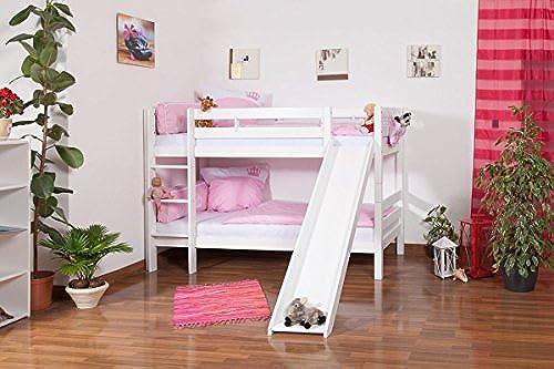 Kinderbett Etagenbett Moritz Buche Vollholz massiv, Farbe  Weißlackiert, inkl. Rutsche, inkl. Rollrost, Ma  90 x 200cm  , teilbar
